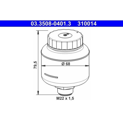 Ausgleichsbehälter, Bremsflüssigkeit ATE 03.3508-0401.3 BUESSING HANOMAG MAN