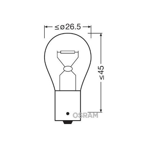 Incandescent lightbulb OSRAM P21W 21W / 12V Socket Version: BA15s (7506)