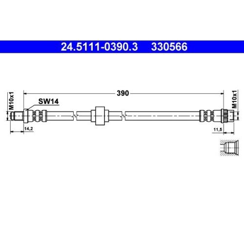 Brake Hose ATE 24.5111-0390.3 RENAULT