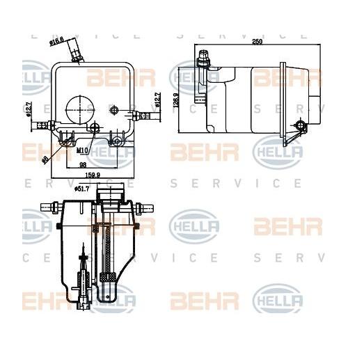 Expansion Tank, coolant HELLA 8MA 376 755-211 BMW