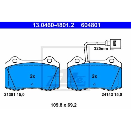 Brake Pad Set, disc brake ATE 13.0460-4801.2 SEAT