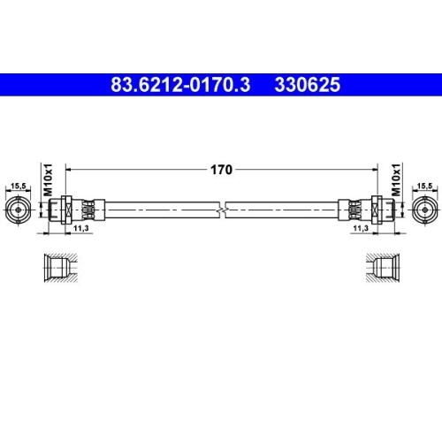 Brake Hose ATE 83.6212-0170.3 VAG