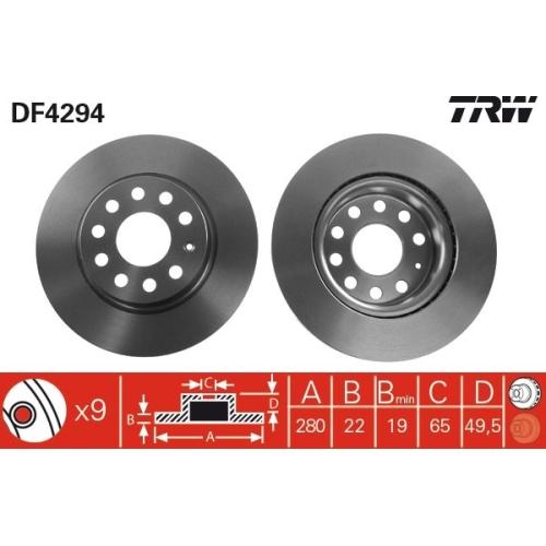 Brake Disc TRW DF4294 AUDI SEAT SKODA VW VW (FAW) VW (SVW)