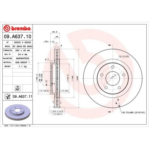Bremsscheibe BREMBO 09.A637.11 COATED DISC LINE CHRYSLER DODGE LANCIA JEEP