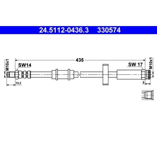 Brake Hose ATE 24.5112-0436.3 CITROËN FIAT PEUGEOT