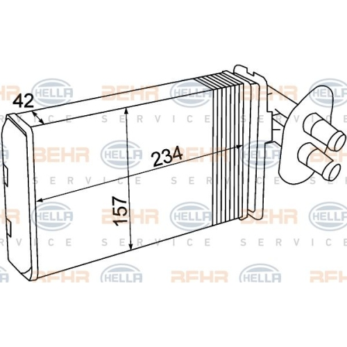 Wärmetauscher, Innenraumheizung HELLA 8FH 351 308-741 VW