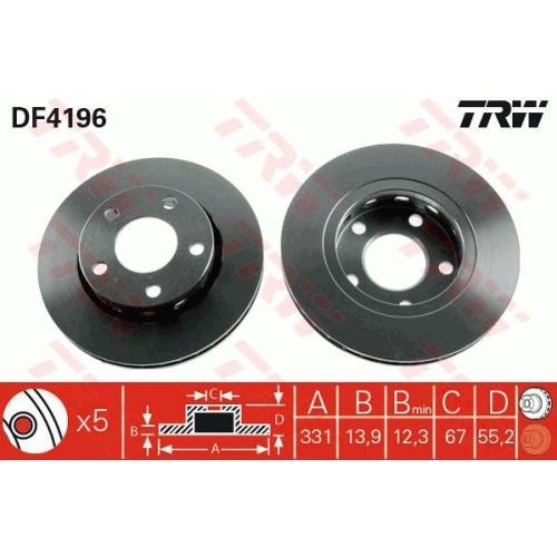 Brake Disc TRW DF4196 MERCEDES-BENZ