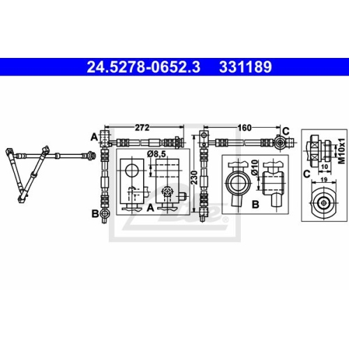 Brake Hose ATE 24.5278-0652.3 NISSAN