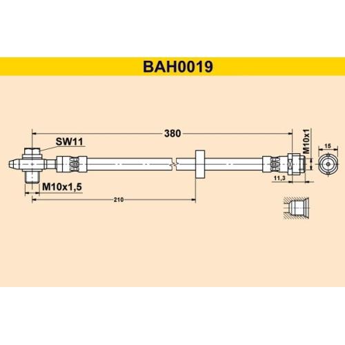 Brake Hose BARUM BAH0019 SEAT VAG