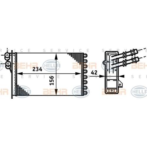 Wärmetauscher, Innenraumheizung HELLA 8FH 351 311-021 AUDI SEAT SKODA VW