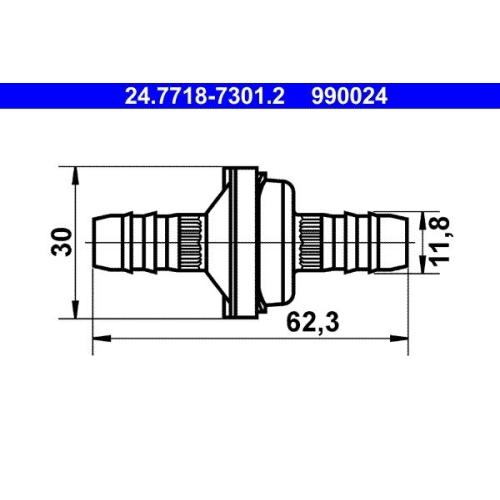 Ventil, Unterdruckleitung ATE 24.7718-7301.2 CITROËN JAGUAR MERCEDES-BENZ OPEL