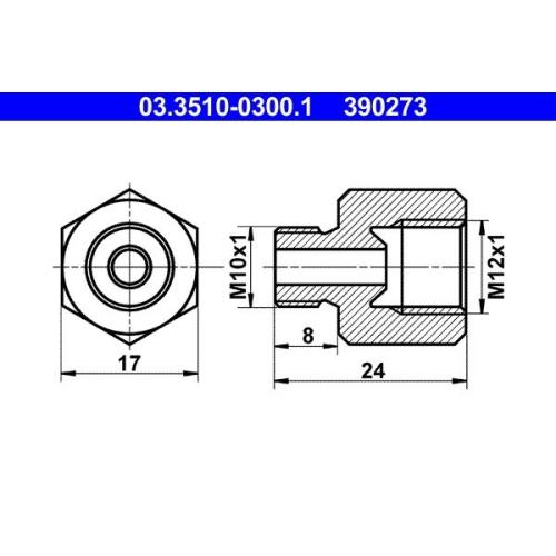 Adapter, Bremsleitung ATE 03.3510-0300.1 BUESSING HANOMAG HENSCHEL MAGIRUS-DEUTZ