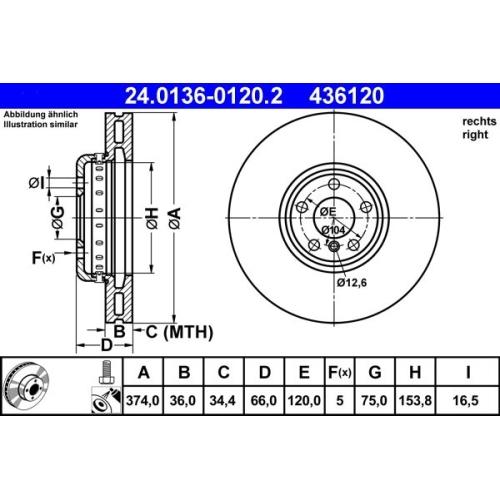 Brake Disc ATE 24.0136-0120.2 BMW