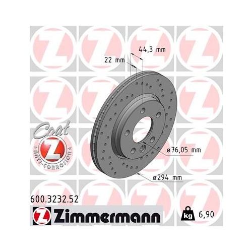 Brake Disc ZIMMERMANN 600.3232.52 SPORT BRAKE DISC COAT Z VAG
