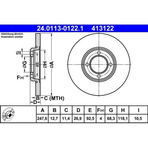 Brake Disc ATE 24.0113-0122.1 FORD HYUNDAI