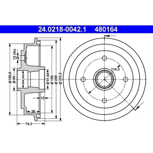 Bremstrommel ATE 24.0218-0042.1 SUZUKI
