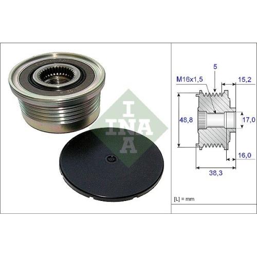 Alternator Freewheel Clutch INA 535 0048 10 MITSUBISHI NISSAN OPEL RENAULT VOLVO