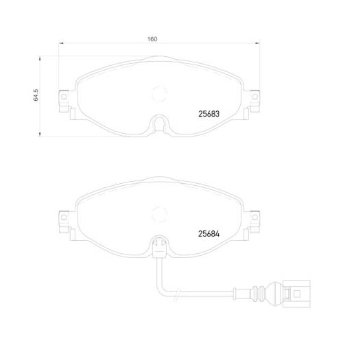 Brake Pad Set, disc brake BREMBO P 85 126 DIRECTIONAL BRAKE PADS AUDI SEAT SKODA