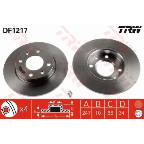 Brake Disc TRW DF1217 CITROËN PEUGEOT DALLAS