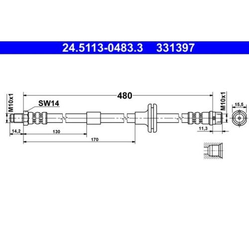 Bremsschlauch ATE 24.5113-0483.3 MERCEDES-BENZ