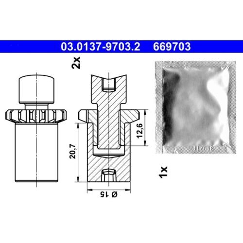 Accessory Kit, parking brake shoes ATE 03.0137-9703.2 adjusting nut