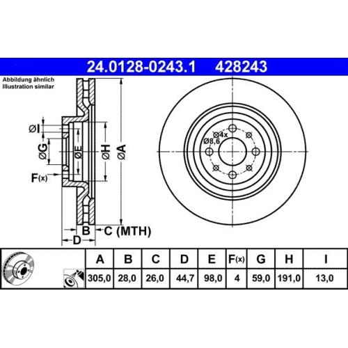 Brake Disc ATE 24.0128-0243.1 FIAT