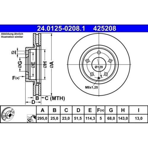 Bremsscheibe ATE 24.0125-0208.1 MAZDA