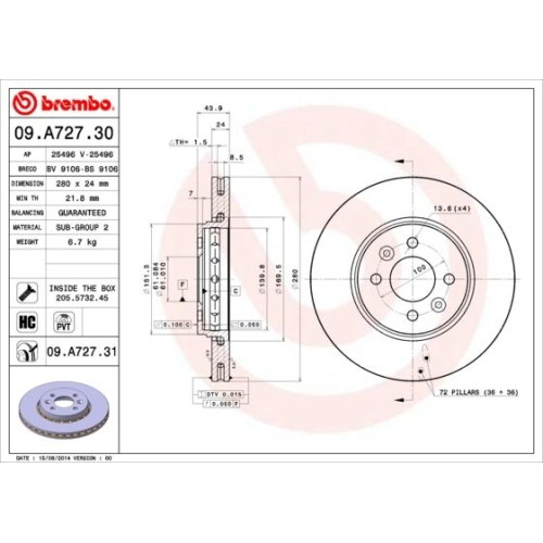 Bremsscheibe BREMBO 09.A727.31 COATED DISC LINE RENAULT DACIA