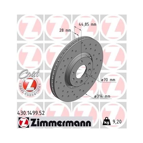 ZIMMERMANN Brake Disc 430.1499.52