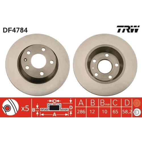 Brake Disc TRW DF4784 AUDI