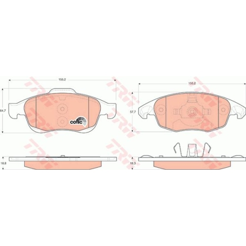 Brake Pad Set, disc brake TRW GDB1690 COTEC CITROËN PEUGEOT DS
