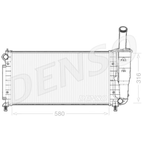 Kühler, Motorkühlung DENSO DRM09105 FIAT