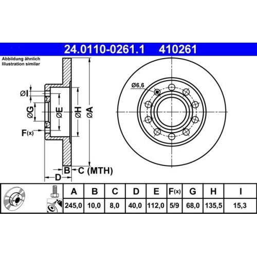 Bremsscheibe ATE 24.0110-0261.1 VAG