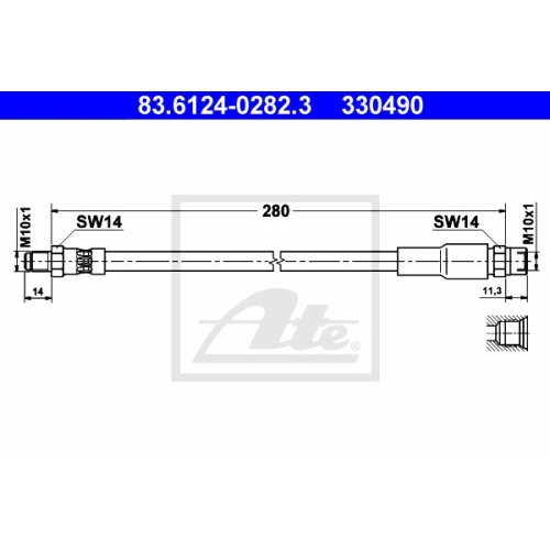 Brake Hose ATE 83.6124-0282.3 VAG