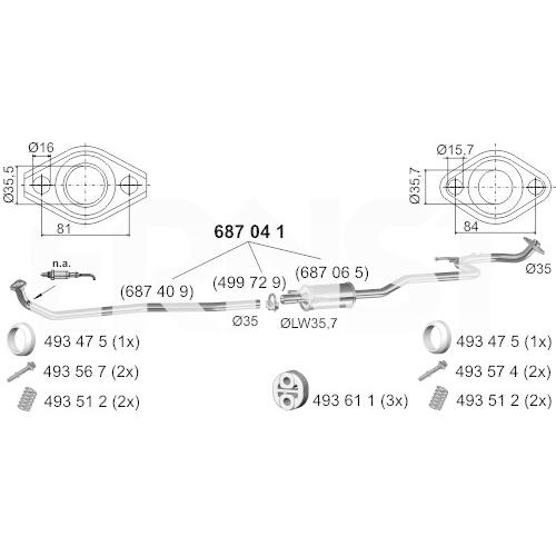 Middle Silencer ERNST 687041 Set TOYOTA