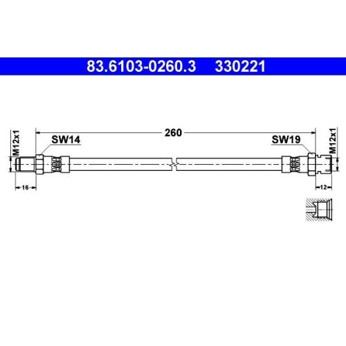 Bremsschlauch ATE 83.6103-0260.3 BUESSING MAN