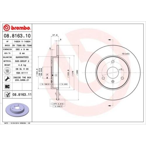 Bremsscheibe BREMBO 08.8163.11 COATED DISC LINE SMART