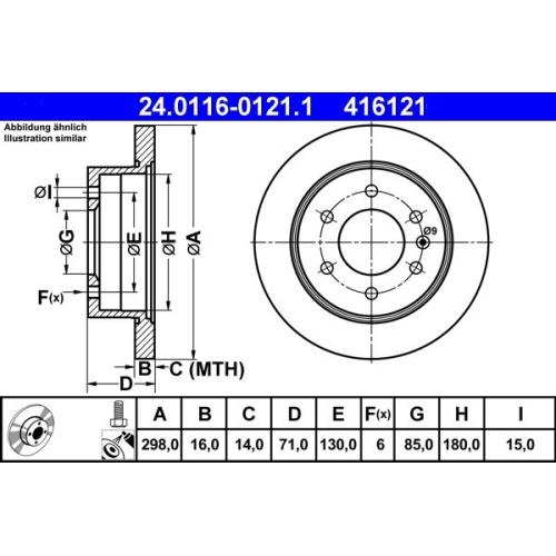 Bremsscheibe ATE 24.0116-0121.1 MERCEDES-BENZ VAG