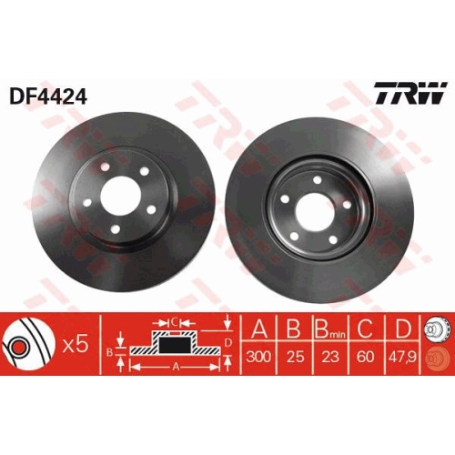Brake Disc TRW DF4424 FORD VOLVO FORD (CHANGAN)