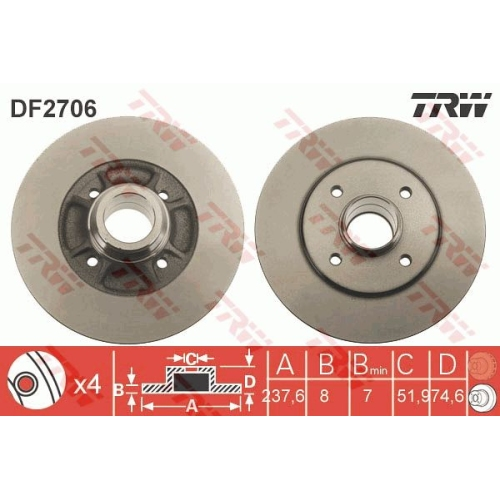 Brake Disc TRW DF2706 RENAULT