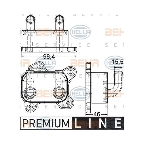 Ölkühler, Motoröl HELLA 8MO 376 780-601 BEHR HELLA SERVICE *** PREMIUM LINE ***