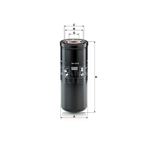 Filter, operating hydraulics MANN-FILTER WH 1257/5 FIAT MERCEDES-BENZ STEYR AGCO