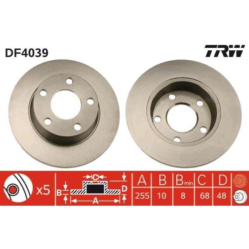 Brake Disc TRW DF4039 AUDI