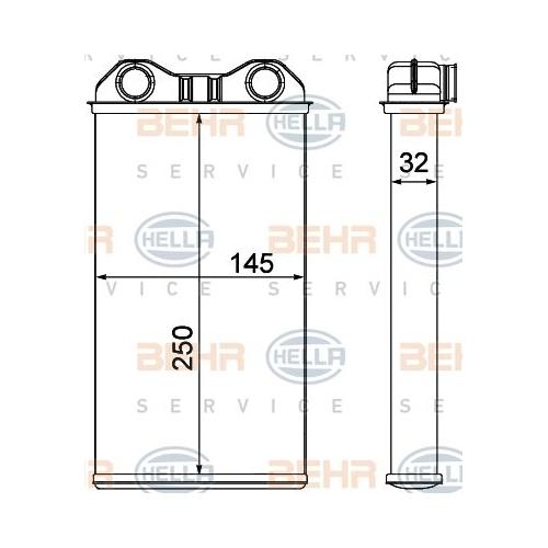 Heat Exchanger, interior heating HELLA 8FH 351 000-621 OPEL RENAULT VAUXHALL