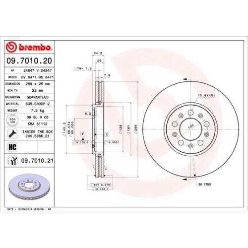 Bremsscheibe BREMBO 09.7010.21 COATED DISC LINE AUDI SEAT SKODA VW SKODA (SVW)