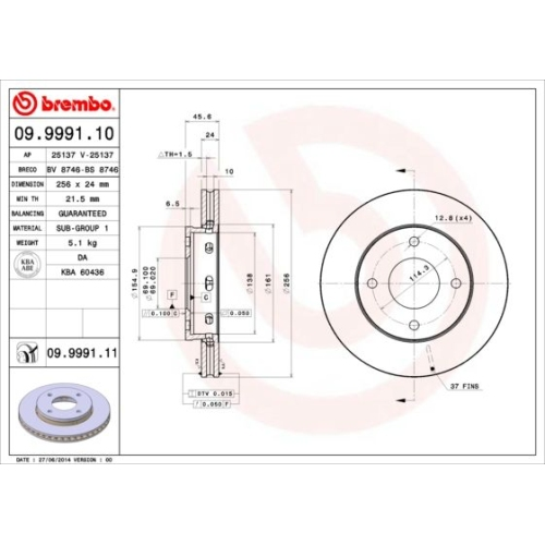 Bremsscheibe BREMBO 09.9991.11 COATED DISC LINE MITSUBISHI SMART