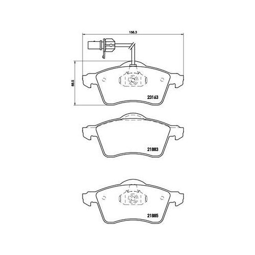 Brake Pad Set, disc brake BREMBO P 85 049 DIRECTIONAL BRAKE PADS AUDI SEAT SKODA