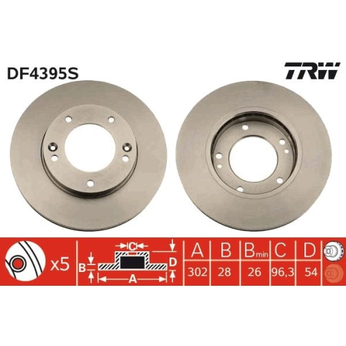 Brake Disc TRW DF4395S KIA