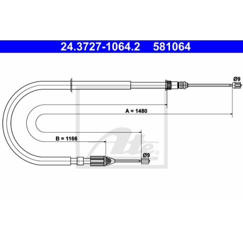 ATE Cable, parking brake 24.3727-1064.2