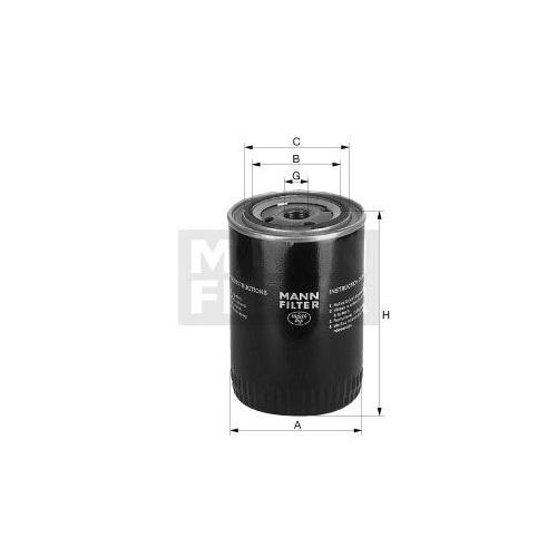 Filter, operating hydraulics MANN-FILTER W 940/37 FORD O & K SAME MASERATI JCB